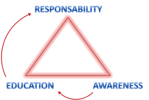 awareness, education and responsibility triangle